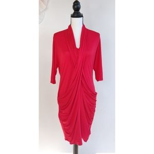 Byron Lars Red Draped Stretchy Midi Dress
